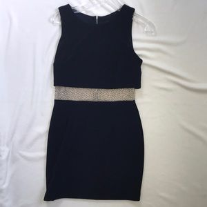 Beautiful, fitted, navy cocktail dress